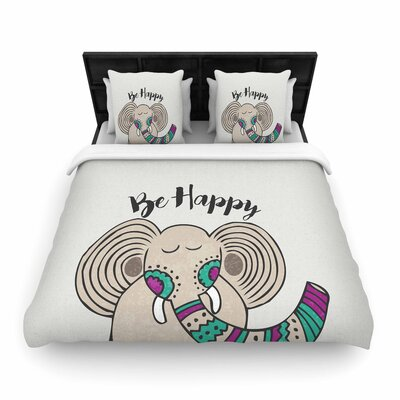 Pom Graphic Design Be Happy Typography Woven Duvet Cover Size: Twin