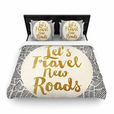 Pom Graphic Design Lets Travel New Roads Woven Duvet Cover