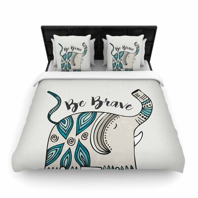 Pom Graphic Design Be Brave Typography Woven Duvet Cover Size: King