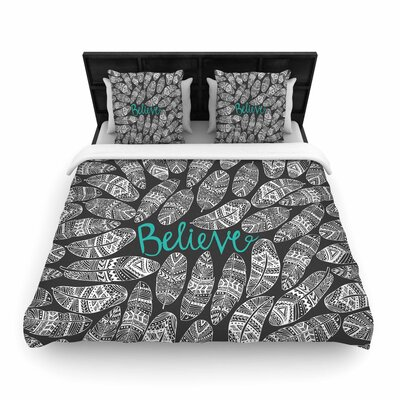 Pom Graphic Design Believe in Yourself Dark Woven Duvet Cover Color: Dark Gray, Size: Full/Queen