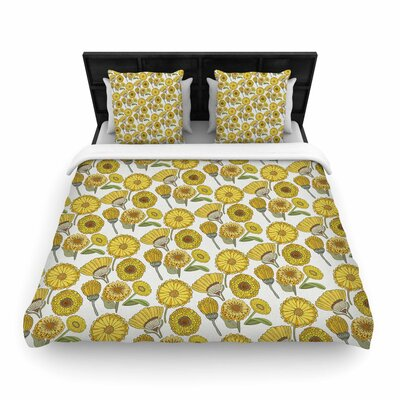 Pom Graphic Design Calendula Flowers -Tags Woven Duvet Cover Size: Full/Queen