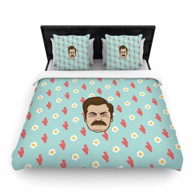 Juan Paolo Give Me All of the Bacon and Eggs Parks & Recreation Woven Duvet Cover Size: Full/Queen
