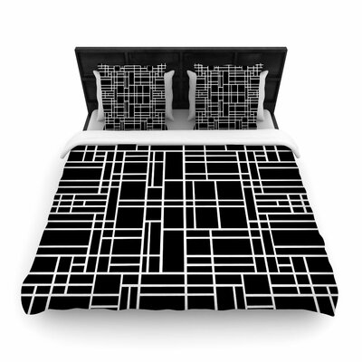 Project M Map Outline Simple Geometric Lines Woven Duvet Cover Color: Black, Size: Full/Queen