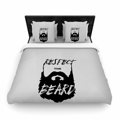 Juan Paulo Respect the Beard Typography Beard Woven Duvet Cover Size: King