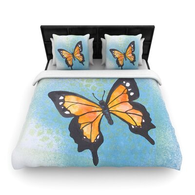 Padgett Mason Flutter Woven Duvet Cover Color: Blue/Orange, Size: Full/Queen