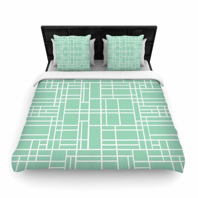 Project M Map Outline Simple Geometric Lines Woven Duvet Cover Color: Mint, Size: Twin
