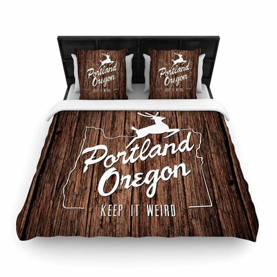 Juan Paolo Keep it Weird Portland Woven Duvet Cover Size: Full/Queen