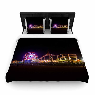 Juan Paolo Santa Monica Pier Woven Duvet Cover Size: Full/Queen