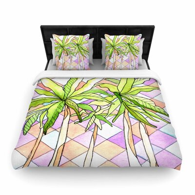 Rosie Brown Geometric Tropic Woven Duvet Cover Size: King