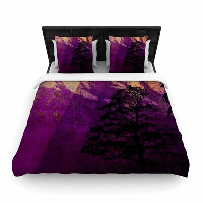 Pia Schneider Trees under Magic Mountain, Nature Woven Duvet Cover Size: King