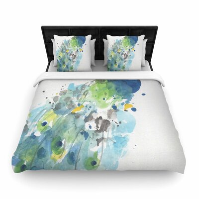 Rebecca Bender Abstract Peacock Woven Duvet Cover Size: King