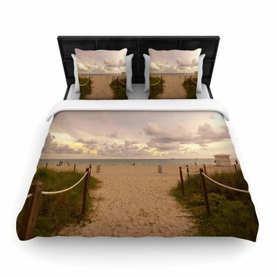 Rosie Brown Walkway to Heaven Coastal Photography Woven Duvet Cover Size: Twin