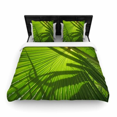 Rosie Palm Shadows Lime Woven Duvet Cover Size: Twin
