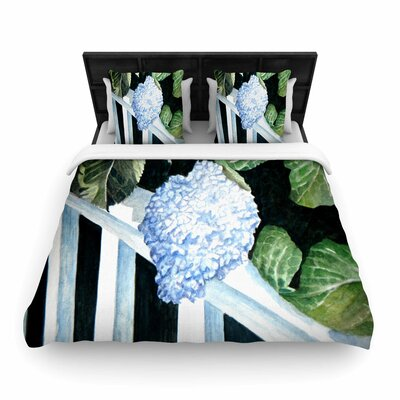 Rosie Brown Hydrangea Floral Woven Duvet Cover Size: King