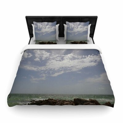 Rosie Brown Clouds Coastal Photography Woven Duvet Cover Size: Twin
