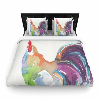 Rebecca Bender Rooster Bird Woven Duvet Cover Size: Full/Queen