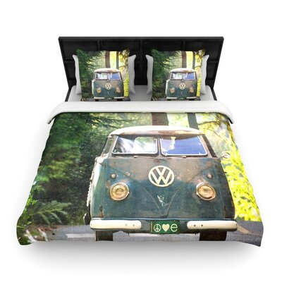 Robin Dickinson Peace Love Nature Forest Woven Duvet Cover