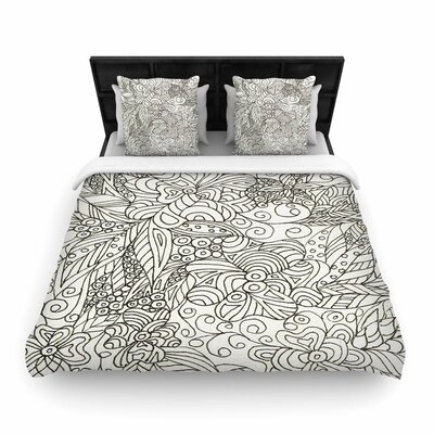 Rosie Brown Zentangle Garden Zentangle Woven Duvet Cover Size: King