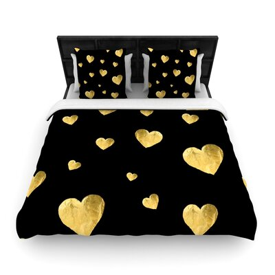 Robin Dickinson Floating Hearts Woven Duvet Cover Size: King