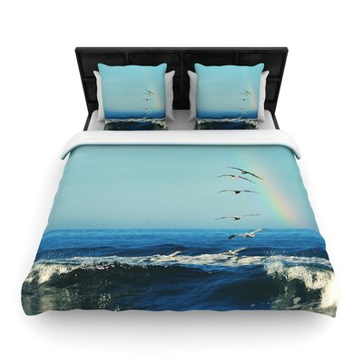 Robin Dickinson Ill Follow Coastal Woven Duvet Cover Size: King