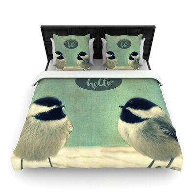 Robin Dickinson Hello Birds Typography Woven Duvet Cover Size: King