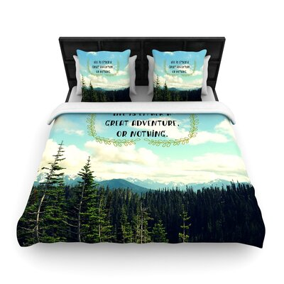Robin Dickinson Life Is... Landscape Typography Woven Duvet Cover Size: Twin