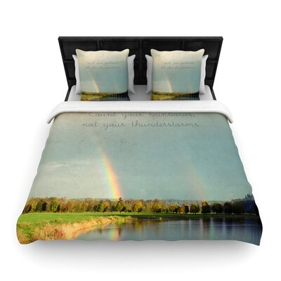 Robin Dickinson Count Rainbows Nature Typography Woven Duvet Cover Size: King