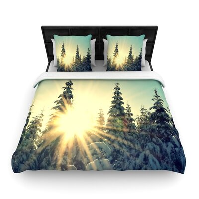 Robin Dickinson Shine Bright Snowy Trees Woven Duvet Cover Size: Full/Queen