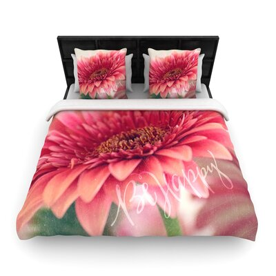 Robin Dickinson Be Happy Floral Woven Duvet Cover Size: Full/Queen