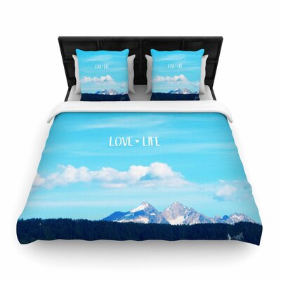 Robin Dickinson Love Life Sky Woven Duvet Cover Size: Full/Queen