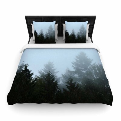 Robin Dickinson Welcome to Earth Mist Forest Woven Duvet Cover Size: King