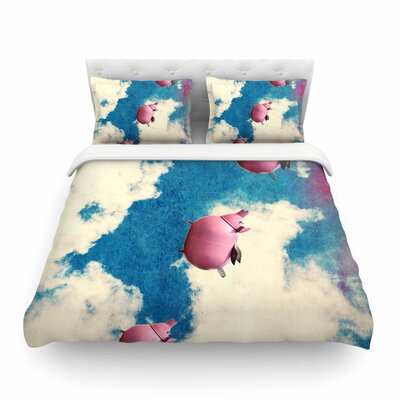 Robin Dickinson When Pigs Fly Digital Featherweight Duvet Cover Size: King