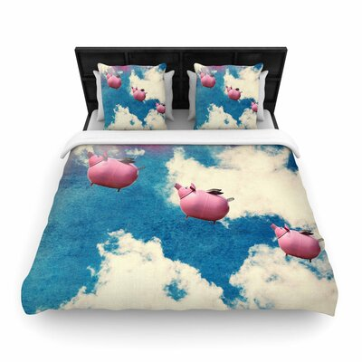 Robin Dickinson When Pigs Fly Digital Woven Duvet Cover Size: Full/Queen