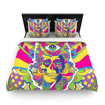 Roberlan Skull Illustration Woven Duvet Cover Size: Twin