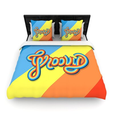 Roberlan Groovy Typography Woven Duvet Cover Size: Full/Queen