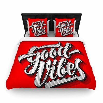 Roberlan Good Vibes 2016 Typography Woven Duvet Cover Size: Full/Queen