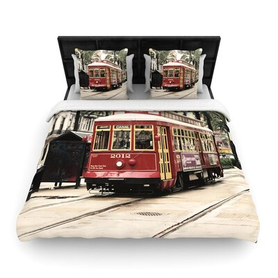Sylvia Cook Canal Street Car Travel Urban Woven Duvet Cover Size: King