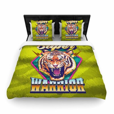 Roberlan Super Furry Tiger Warrior Woven Duvet Cover Size: King