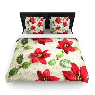 Sylvia Cook Poinsettia Holiday Leaves Woven Duvet Cover Size: Full/Queen