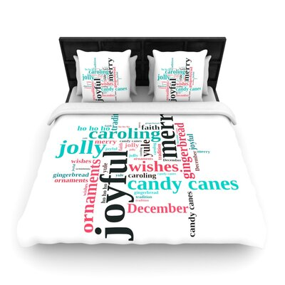 Sylvia Cook Holiday Traditions Christmas Typography Woven Duvet Cover Size: Twin