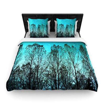 Sylvia Cook Forest Trees Woven Duvet Cover Size: King