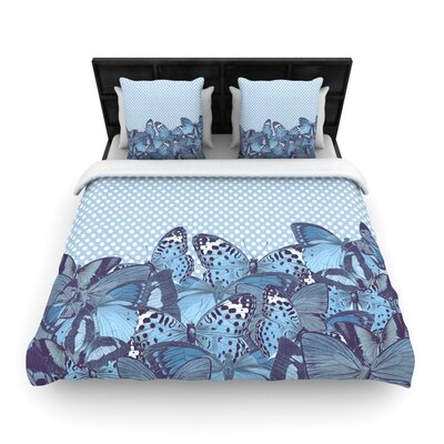 Suzanne Carter Butterfly Polka Woven Duvet Cover Color: Blue, Size: Full/Queen