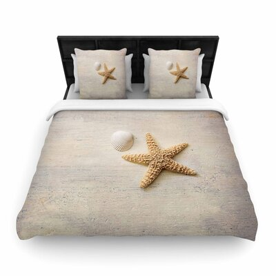 Sylvia Cook Starfish and Shell Woven Duvet Cover Size: Twin