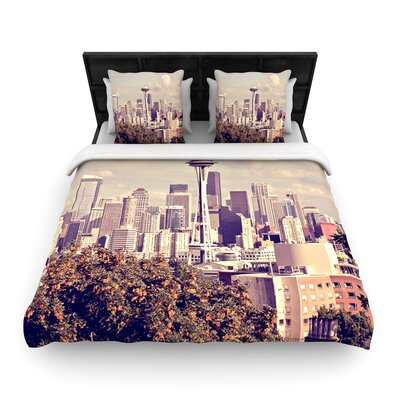 Sylvia Cook Space Needle Skyline Woven Duvet Cover Size: King