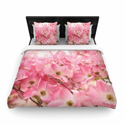Sylvia Cook Dogwood Floral Photography Woven Duvet Cover Size: Full/Queen