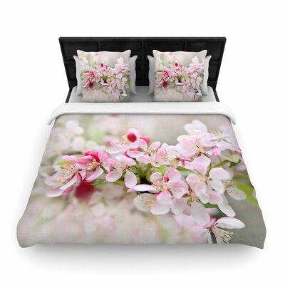 Sylvia Cook April Flowers Woven Duvet Cover Size: King