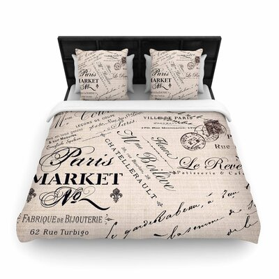 Sylvia Cook French Script Handwriting Woven Duvet Cover Size: Full/Queen