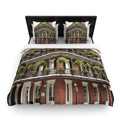 Sylvia Cook New Orleans Street Corner Woven Duvet Cover Size: Full/Queen