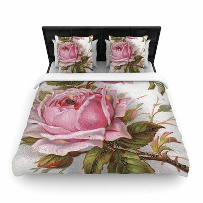 Suzanne Carter Vintage Rose Floral Woven Duvet Cover Size: Full/Queen