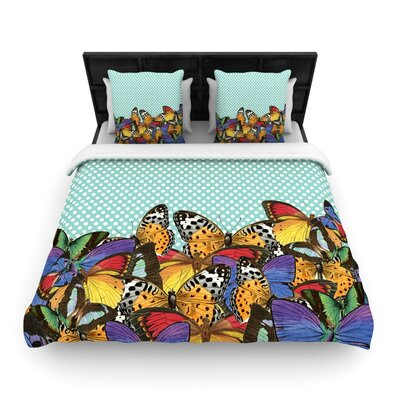 Suzanne Carter Butterfly Polka Woven Duvet Cover Color: Teal, Size: Full/Queen